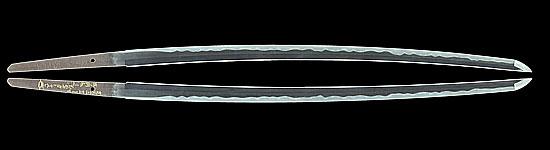 長曽禰虎徹入道興里 (金象嵌)寛文二年十二月廿一日  山野加右衛門永久(花押)弐ツ胴截断 Nagasone Kotetsu Nyudo Okisato (Kinzougan)A.D.1662 Cut down Futatsu dou by Amanokauemon Eikyu