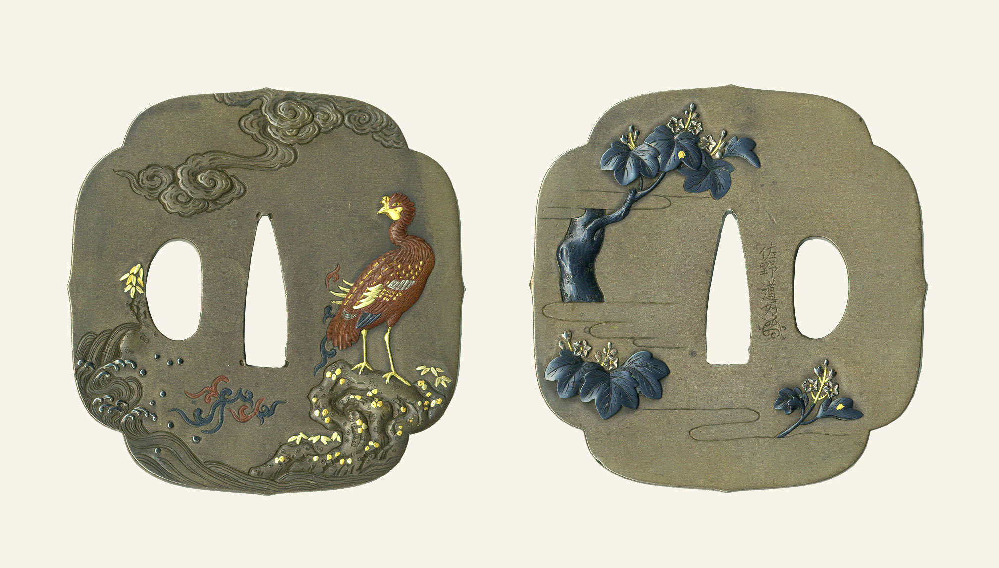 佐野道好 桐鳳凰図鐔Sano Michiyoshi  Tsuba design of Paulownia and Phoenix