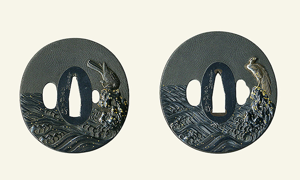 石黒政美 嚴上の鷹図大小鐔 Ishiguro Masayoshi Pair of Tsuba design of Hawk on the rock