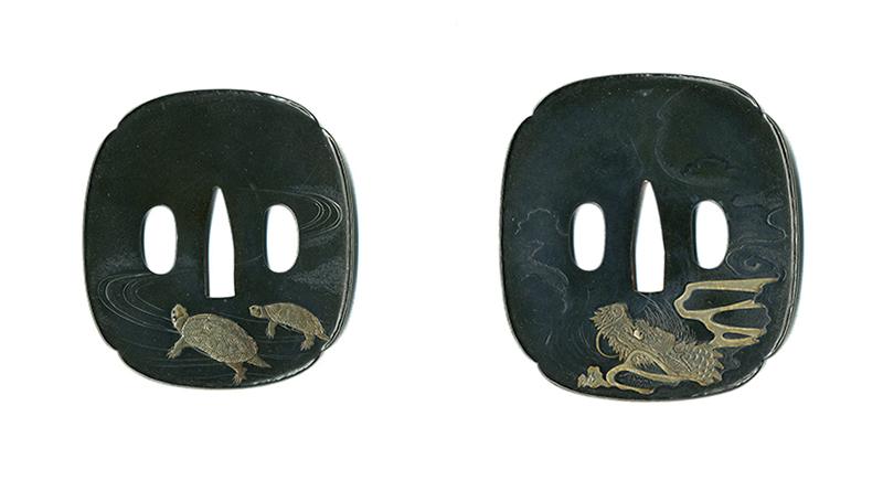 後藤法橋一乗 雲龍流水亀図大小鐔Gotou Houkyo Ichijyo Pair of Tsyba Design of Dragon and Turtle