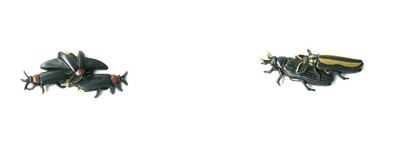 後藤法橋一乗 夏虫図目貫Gotou Houkyo Ichijyo Menuki Design of summer insect