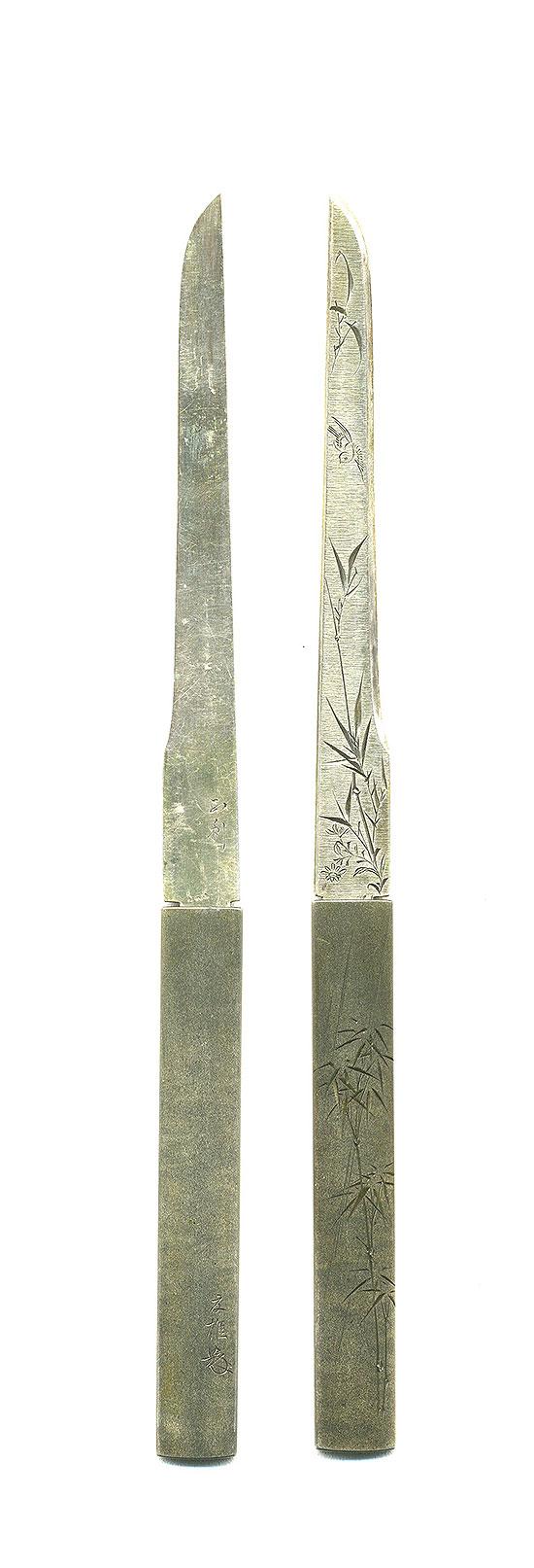 B105 夏雄大鑑 所載品 小柄 雨竹図 加納夏雄 Kozuka Natsuo design of Bamboo in the Rain