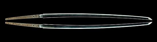 "於東都水府住勝村徳勝 慶応二年二月日 応渋川勝誠需佩之 号勝利剣Katsumura Tokkatsu at Touto Suifu A.D.1866 Order from Shibukawa Katsumasa  Given name ""Winner Sword"""