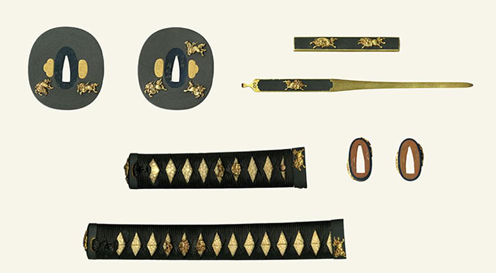 雲水軒利信 麒麟図大小揃金具  Unsuiken Toshinobu Pair of full set Sword Fitting design of Kirin