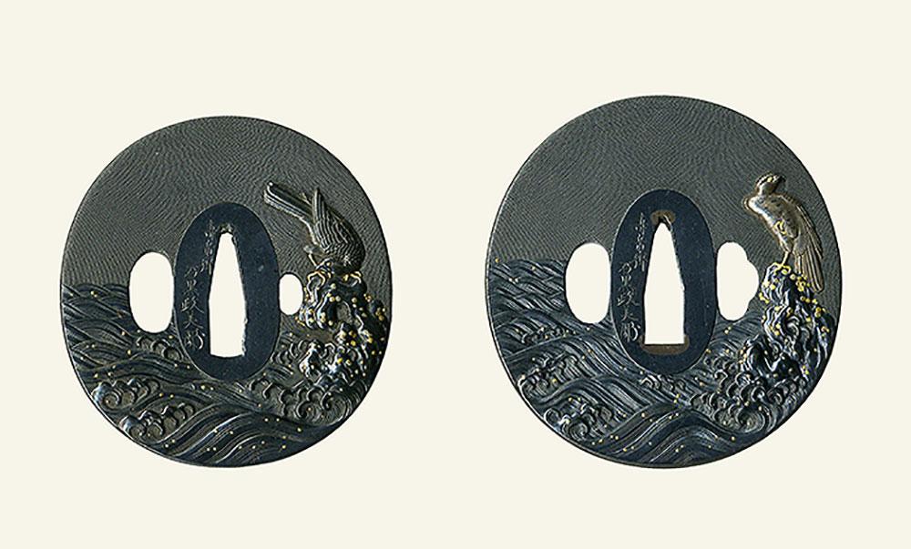 石黒政美 嚴上の鷹図大小鐔 Ishiguro Masayoshi Pair of Tsuba design of Hawk on the rock