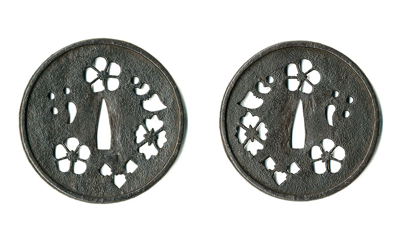吉祥文散透鐔 古甲冑師Tsuba Ko-Kacchushi design of Auspicious patterns